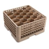 Traex® TR11GGGG Beige 20 Compartment Glass Rack with 4 Extenders