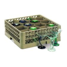 Traex® TR18JJJ Beige 12 Compartment Glass Rack with 3 Extenders