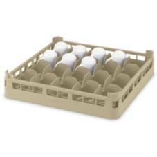 Full Size Medium 20-Compartment Cup Rack, Cocoa, 19-3/4x19-3/4x5-1/2