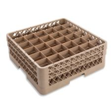 Traex® TR7CC Beige 36 Compartment Glass Rack with 2 Extenders