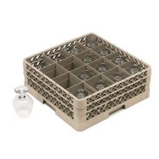 Vollrath TR8DD Traex Beige 16 Compartment Glass Rack with 2 Extenders