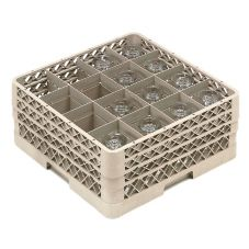 Traex® TR8DDD Beige 16 Compartment Glass Rack with 3 Extenders