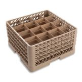 Traex® TR8DDDD Beige 16 Compartment Glass Rack with 4 Extenders