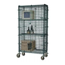 Focus Foodservice Green Epoxy 24 x 48 x 63 In Mobile Security Cage Kit