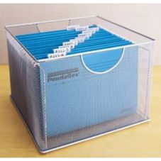 "Design Ideas 13.5""x14"" Silver Mesh File Box"