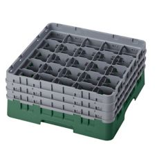 "Cambro 25S638119 Sh. Green 6-7/8"" Glass Rack with 3 Extenders 3 / CS"