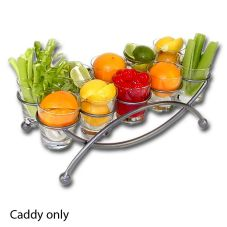 "Silver Metal Lunar Garnish Display Caddy, 6"" x 9"" x 19"""
