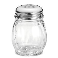 Tablecraft Swirl Glass 6 Oz Cheese Shaker with Perforated Chrome Lid