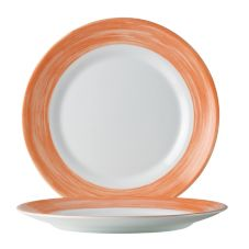 "Cardinal Arcoroc Brush Opal® 10"" Dinner Plate w/ Orange Rim"