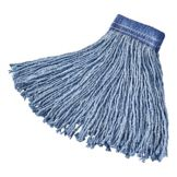 "Rubbermaid Blue Blended 16 oz Cut-End Mop Head w/ 5"" Headband"