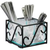"Cal-Mil® H350-13 Black Frame 6 x 6 x 6"" Cutlery Holder"