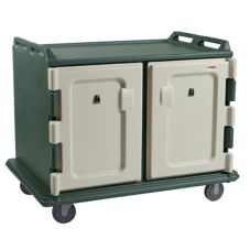 Cambro MDC1520S20192 Green Low 2-Comp 15 x 20 Tray Meal Delivery Cart