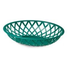 "TableCraft 1072DG 8-7/8"" Dark Green Oval Lattice Basket - Dozen"