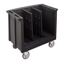 Cambro® Black Adjustable Tray & Dish Cart with 2 Dividers