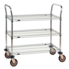 "Metro® 3SPN45DC 21 x 48"" Chrome Finish Cart With 3-Wire Shelves"