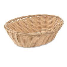 "Browne Foodservice 8879 9"" x 7"" Tan Wicker Basket - Dozen"