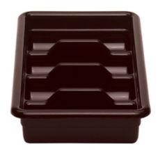 Cambro 1120CBP131 Dark Brown Poly 4-Compartment Cutlery Cambox®