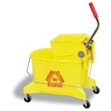 Continental 266-36YM Yellow 26 Qt Side Press Combo Mop Bucket - 1 / ST