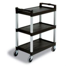 "Continental 5810BK Black 3-Shelf 36"" Bussing / Service Cart"