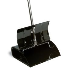 "Continental 808 Black Metal 12½"" Lobby Dust Pan With Lid"