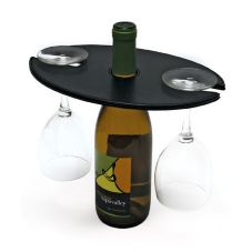 London Water/Wine Amenity Holder, Holds Bottle and Two Glasses, Black