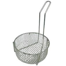 "Quadra-Tech Round 10"" Fry Basket w/ 11"" Handle"