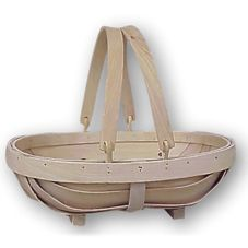 Oblong Wood Slat Basket w/ Drop Down Handles, 14 x 11 x 4