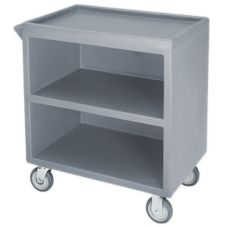 Cambro BC330191 Granite Gray 3-Shelf Service Cart with 1 enclosed side