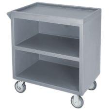Cambro BC330191 Granite Gray 3-Shelf Service Cart with 1 enclosed side