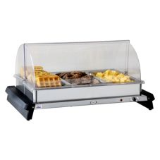 Cadco WTBS-3RT Stainless Triple Buffet Server with Roll Top Lid
