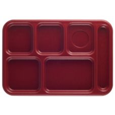 "Cambro Cranberry 10"" x 14-1/2"" 6-Compartment Serving Tray"