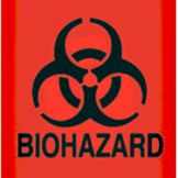 Rubbermaid® FGBP1 Orange/Red Fluorescent Biohazard Decal - 1 / CS