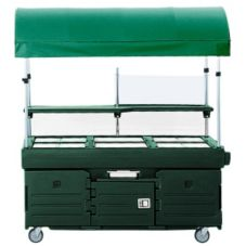 Cambro KVC856C519 Green CamKiosk Cart with 6 Pan Wells and Canopy