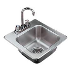 S/S Bar/Waitress Sink W/Strainer & Gooseneck Faucet