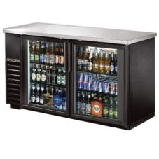 True TBB-24-60G-LD Black 2-Glass Door Back Bar Cooler For 133 6-Packs