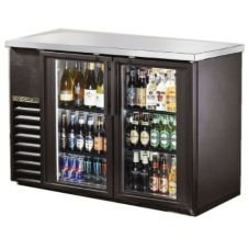 True TBB-24-48G-LD Black 2-Glass Door Back Bar Cooler For (48) 6-Packs