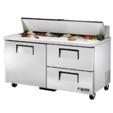 True® TSSU-60-16D-2 S/S 15.5 Cu Ft Salad / Sandwich Prep Table