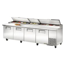 True® 4-Door 8-Shelf S/S Pizza Prep Table w/ White Alum. Interior