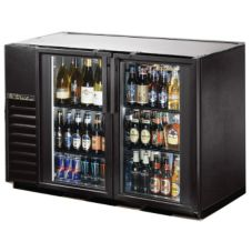 True® Black 2-Swing Glass Door Back Bar Cooler for 82 6-Packs