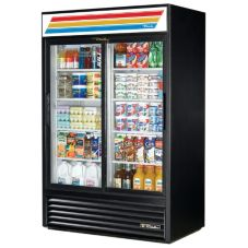 True® Black Glass Door Refrigerator Merchandiser, 45 Cubic Ft