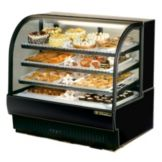 True® Black Curved Glass Refrigerated Bakery Case, 27.4 Cubic Ft