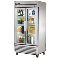 True® T-Series Glass 2-Door 6-Shelf Reach-In Refrigerator, 35 CF