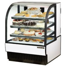 True® White Curved Glass Refrigerated Bakery Case, 19 Cubic Ft