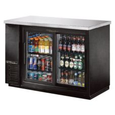 True® Black 2-Sliding Glass Door Back Bar Cooler for 48 6-Packs