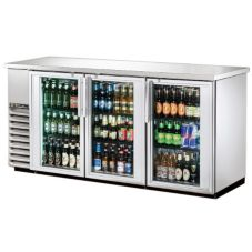 True TBB-24-72G-S-LD Stainless Steel Glass Swing Door Back Bar Cooler