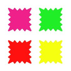 "Ready Flow 6001-RNB 6"" x 6"" Four Color Starburst Sign Pack - 100 / PK"