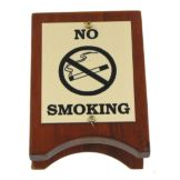 Classic Hotel Woodwork NOSM Wood And Brass 3.5 x 2.5 No Smoking Sign