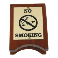 "Wood & Brass No Smoking Sign, 4"" x 3"""