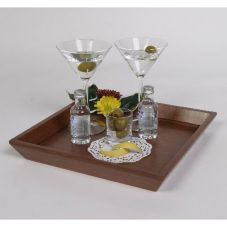 Square Mahogany Wood Amenity Tray