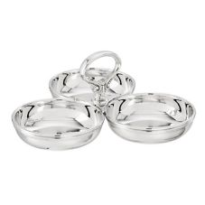 Silver Plated Relish Dish w/ Three Compartments, 4D x 3-1/2